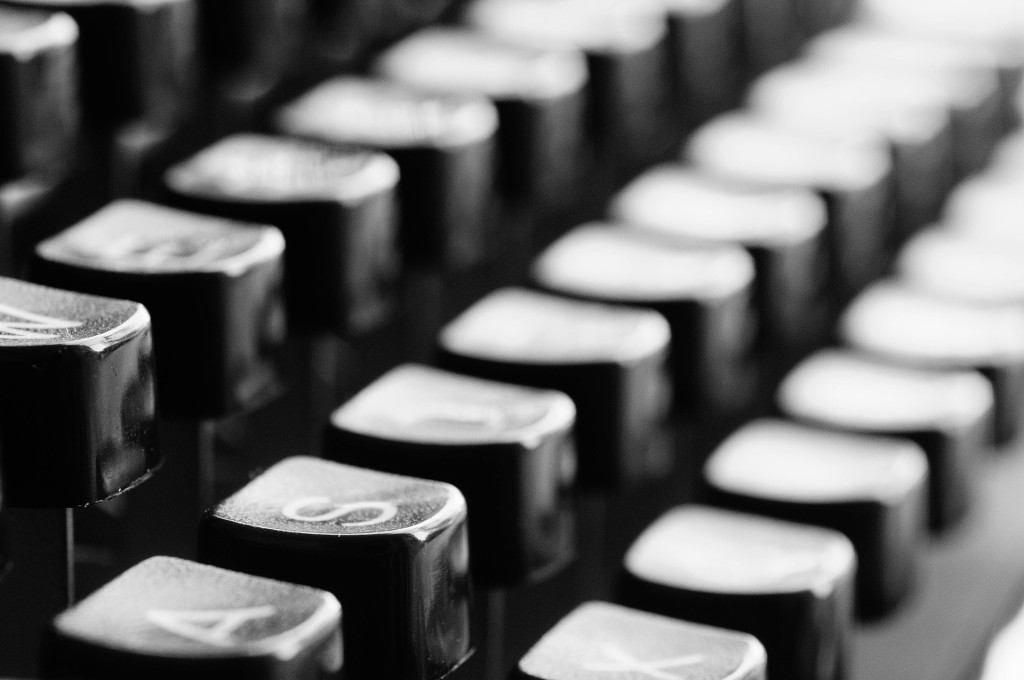 Closeup of keys on a typewriter