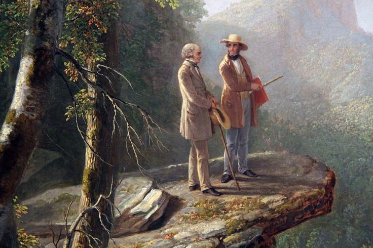 Kindred Spirits painting (1849) by Asher B. Durand depicting the painter Thomas Cole and poet William Cullen Bryant in the Catskill Mountains.