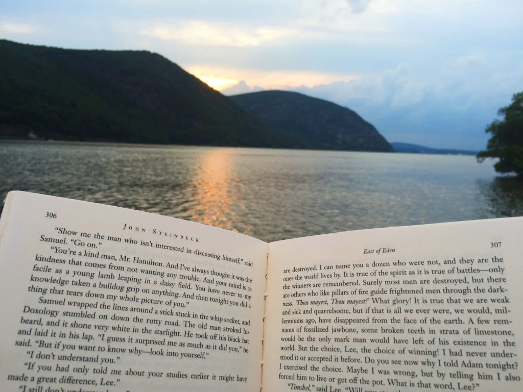 Open book in front of Hudson River and mountains