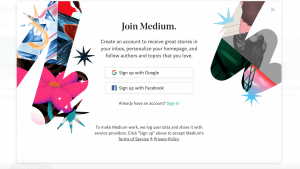 Image of Medium's sign up screen