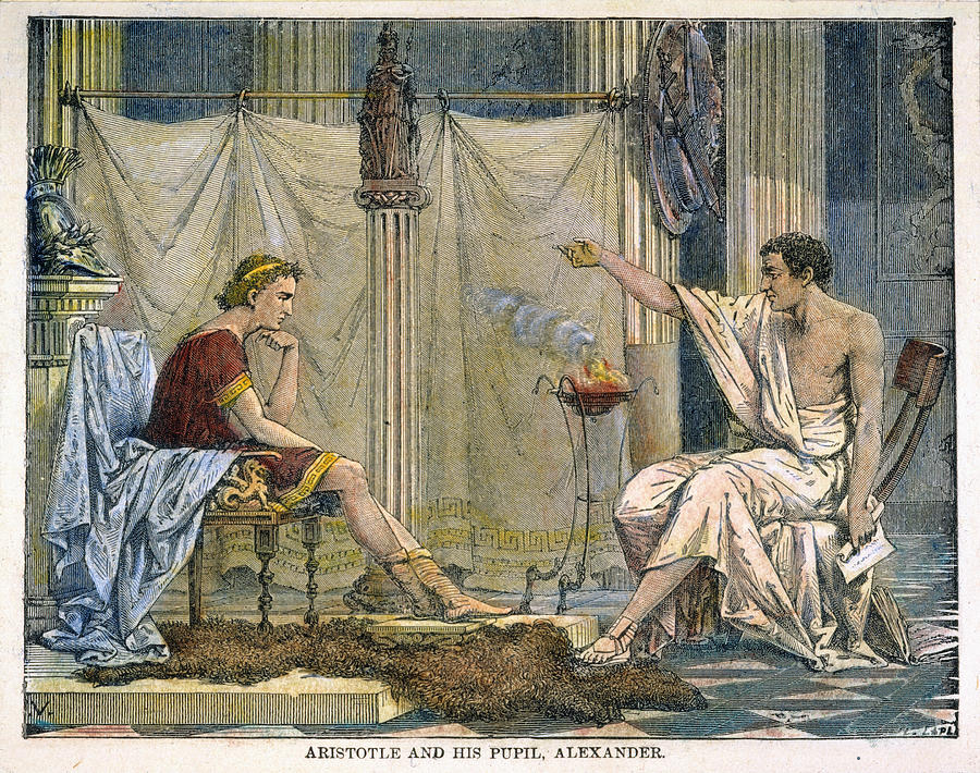 Illustration of Aristotle and Alexander the Great in conversation