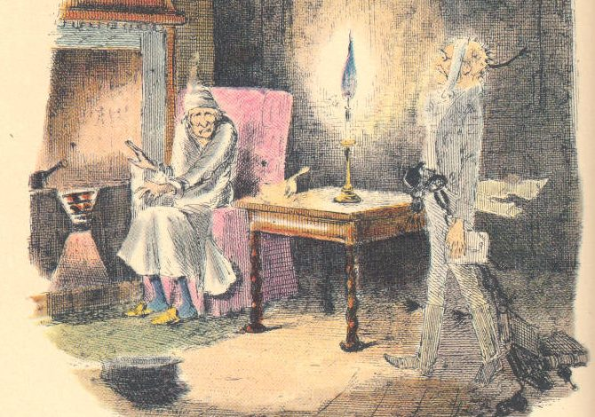 Illustration of Scrooge and Marley's Ghost from the first edition of A Christmas Carol